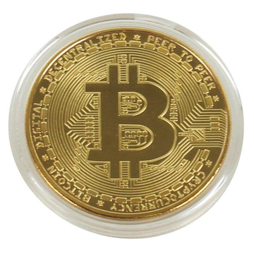 Bitcoin Btc Metal Coin In Gold Real