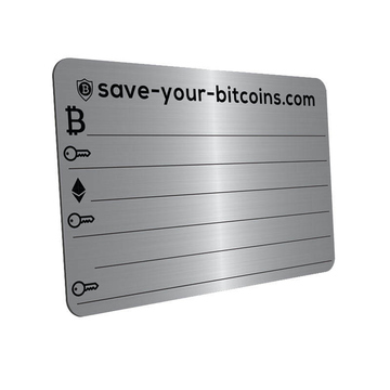 Metal plate for storing private keys (cryptocurrencies)