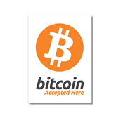 "Aufkleber ""Bitcoin accepted here"" 74x105 mm 10-er Pack"