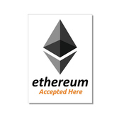 "Aufkleber ""Ethereum accepted here"" 74x105 mm 10-er Pack"
